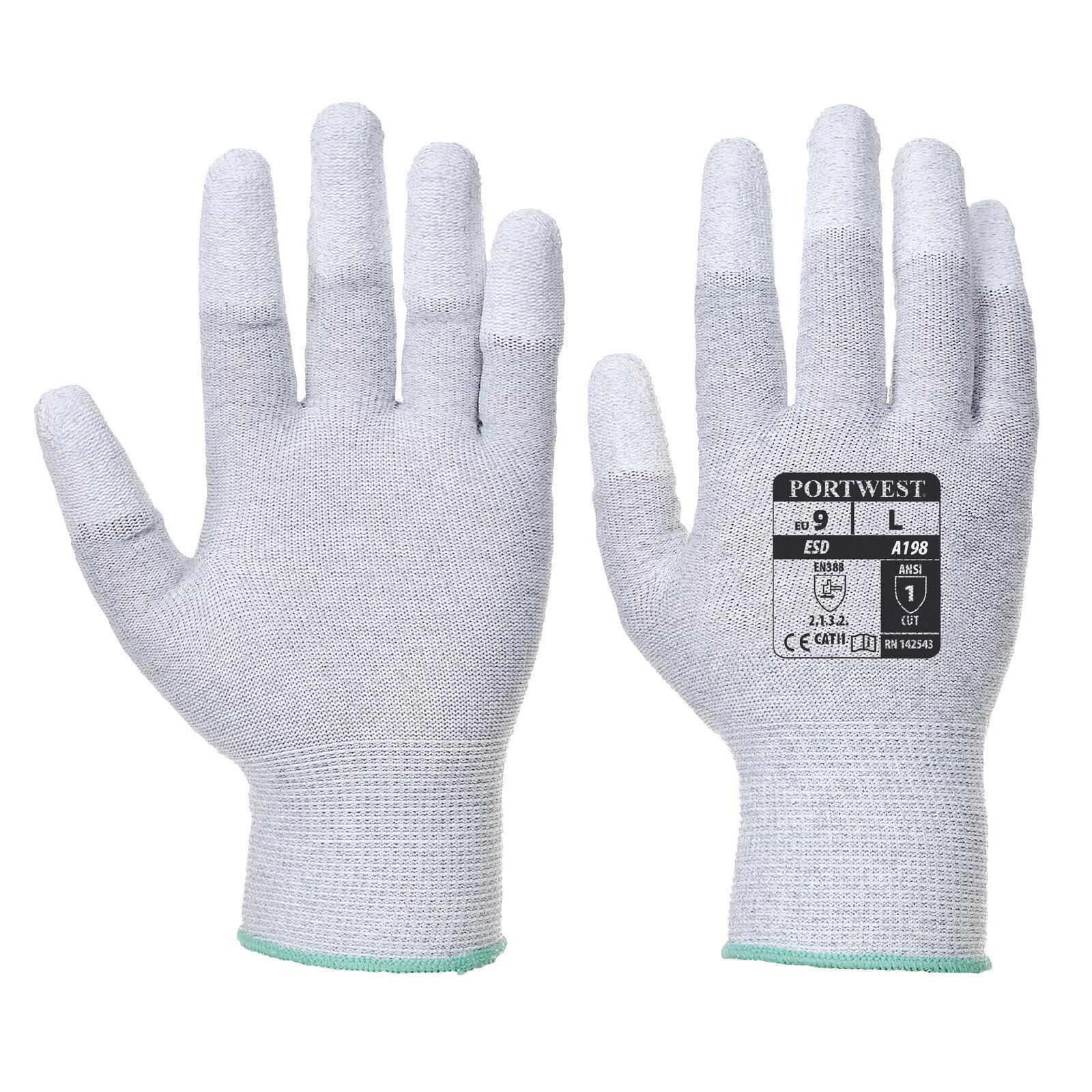 Portwest Unisex antistatici PU polpastrello GUANTO GRIGIO/arancione vari taglia