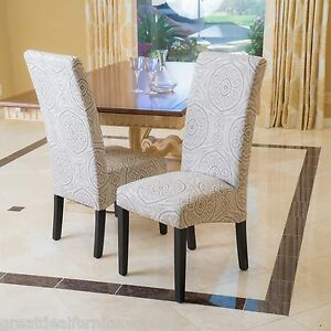 Set Of 2 Modern Geometric Black Pattern On Beige Fabric Dining Chairs EBay