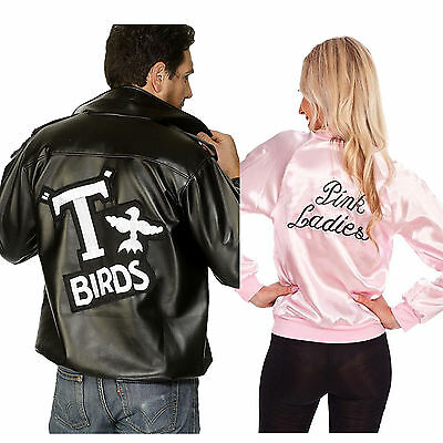Halloween Lover Couple Retro Grease 60s Pink Lady Jacket Fancy Costume Hen