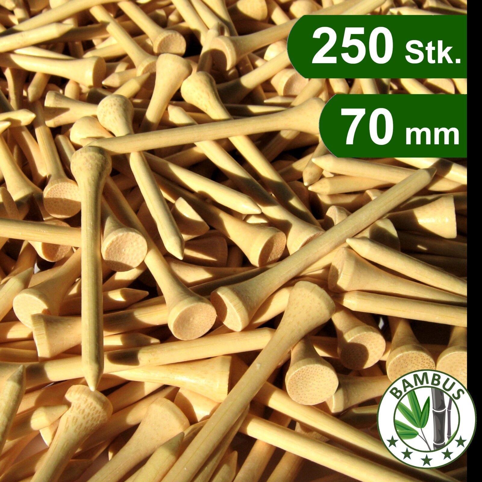 250 Stk / aus BAMBUS / natur / 70 mm - 7,0 cm - 2 3/4 Zoll / Golf Tees / Holz