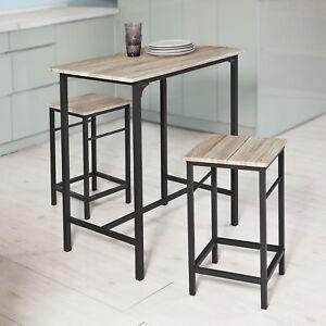 Breakfast Bar Table And 2 Stools Metal Frame Dining Set Kitchen Modern  Furniture