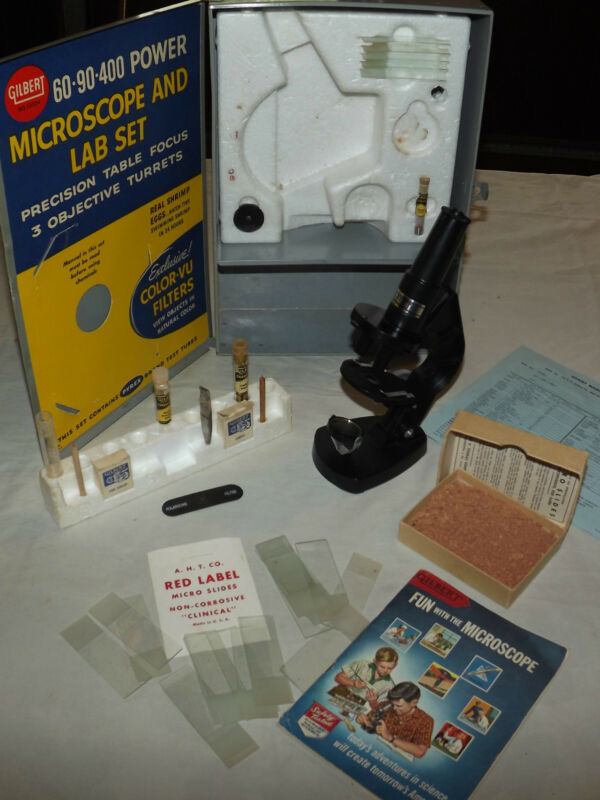 VINTAGE TOY 1958 GILBERT MICROSCOPE AND LAB SET 13024