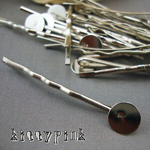 20 Silver Plated Bobby Hair Pin Clip Slide Blanks Accessories Craft Pad