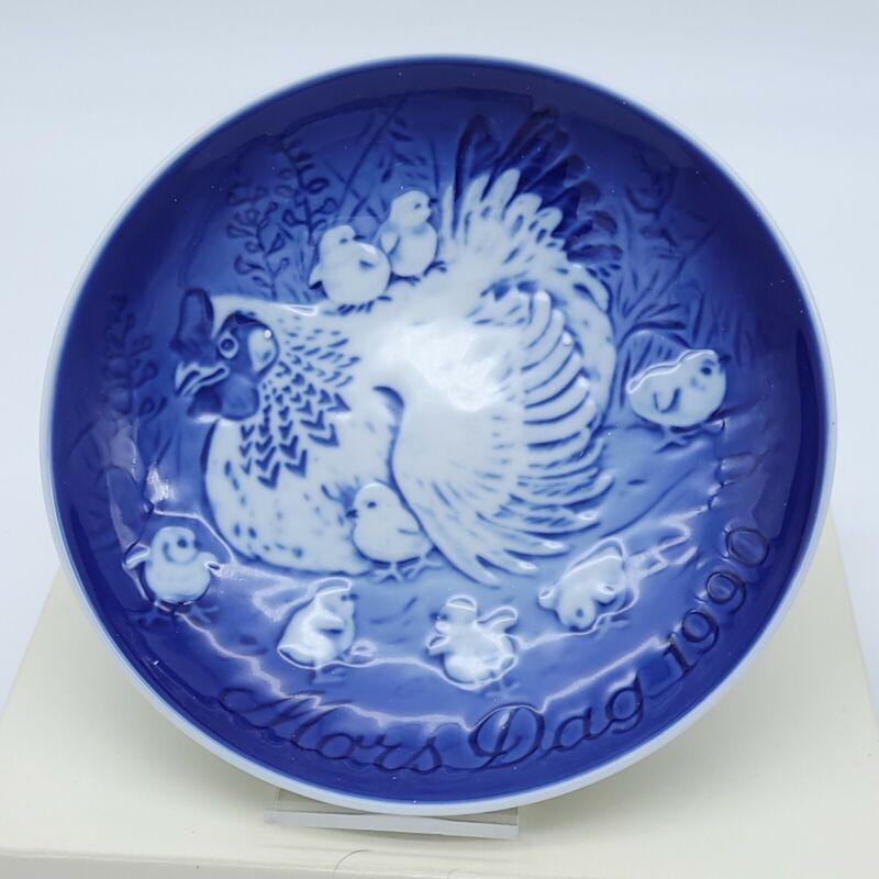 """Bing & Grondahl Copenhagen Porcelain Mors Dag Chickens 6"""" Mothers Day Plate 1990"""