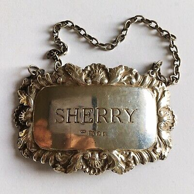 FINE VINTAGE DECORATIVE ENGLISH SOLID SILVER SHERRY DECANTER LABEL