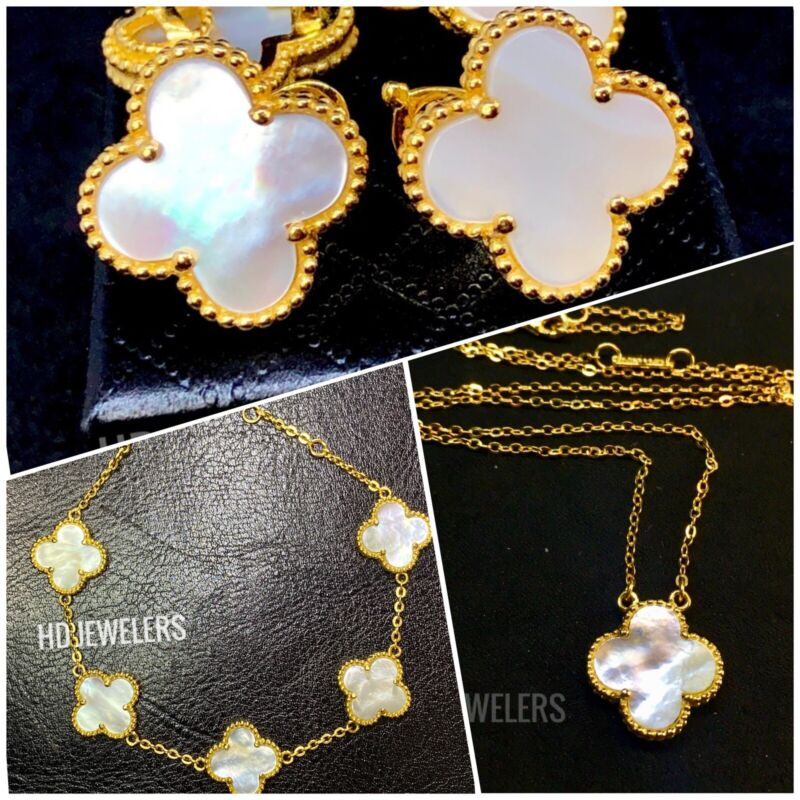 3P Clover Jewelry Set White Mother Of Pearl Four Leaf Flower Gold Motif Design