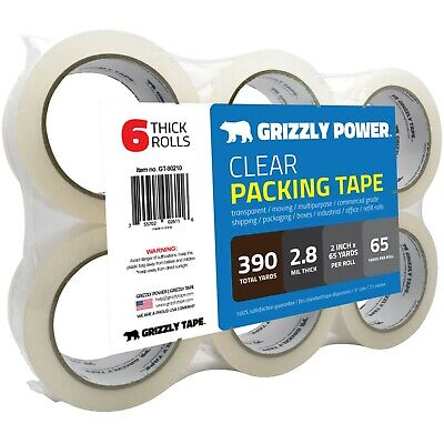 Clear Packing Tape Refill Rolls for Shipping,Packaging-2 Inch x 65 Yards,6 Rolls