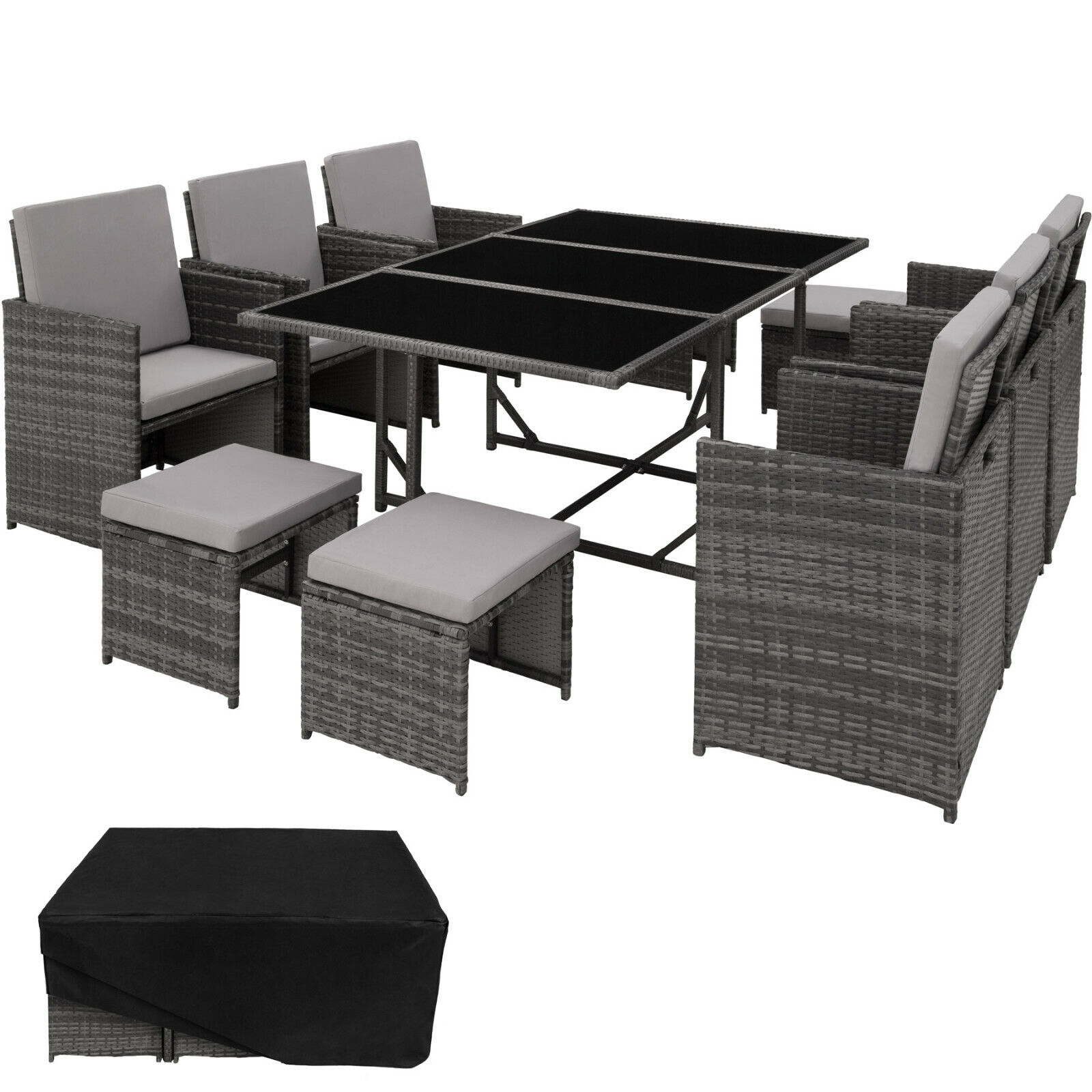 Poly Rattan Sitzgruppe Gartenmöbel Garten Lounge 6x Stuhl Tisch 4x Hocker grau