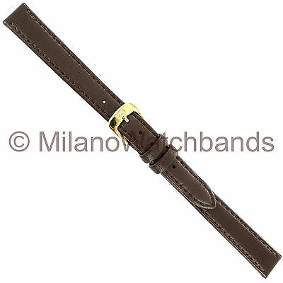 12mm Di Modell Brown Softina Velvetlike Smooth Calfskin Stitched Watch Band  XL