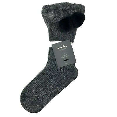 Wander By Hottotties Womens Cable Cuff Pom Slipper Sock One Size Heather Gray