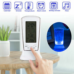 Table Alarm Clock Digital Backlight LED Display Snooze Thermometer Calendar USA