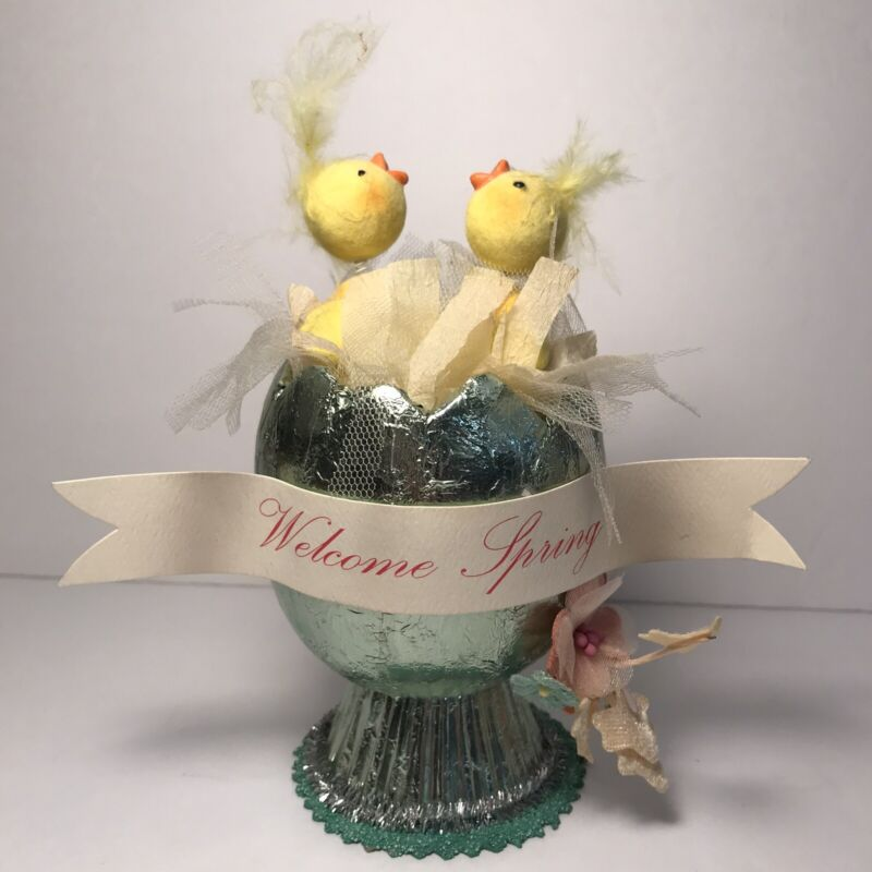 Vintage Style Easter Egg Chick Decor Welcome Spring Seasons of Cannon Falls