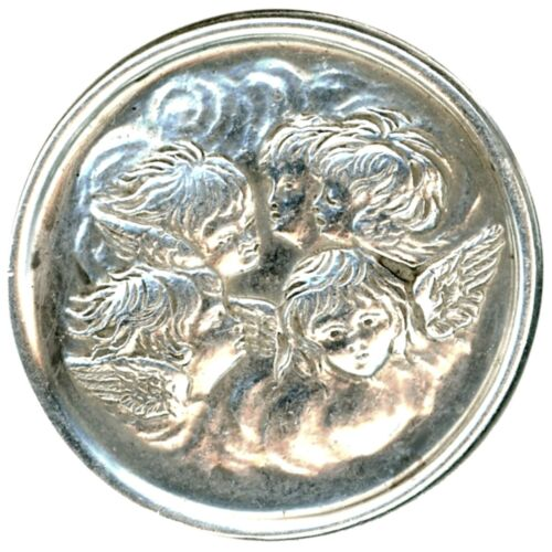Button--Early 20th C. Sterling Silver Heads of Angels