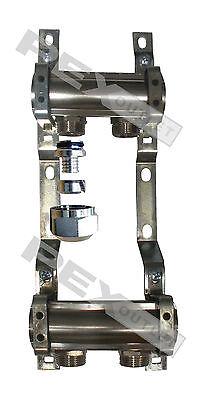 2 Circuit Chrome Radiant Floor Heat Manifold For Pex Pipe W R-20 Pex Adapters