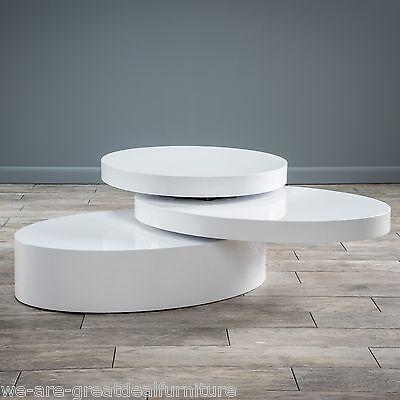 Modern Design Oval White Hi-Gloss Swivel Rotating Coffee Table - Modern Design Oval White Hi-Gloss Swivel Rotating Coffee Table