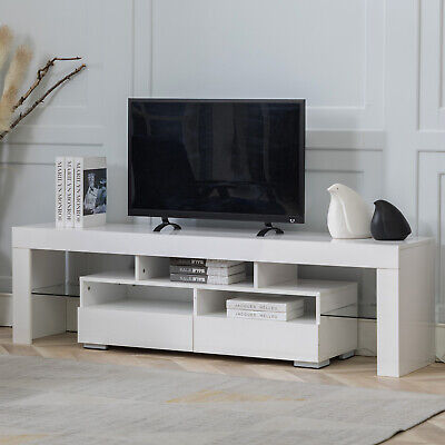 Living Room TV Stand Unit Cabinet W/ 2 Drawers 63'' Sideboard Cupboard Furniture Glass Living Room Cabinet