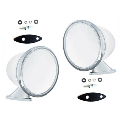 "4"" Talbot Shelby British Style Fender Door Mounted GT Racing Chrome Mirrors Pair"