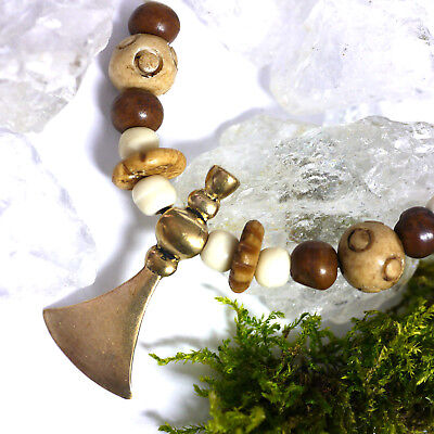 klasse Lederkette Wikinger Slaven Hammeraxt Bronze mit Knochenperlen Axtamulett