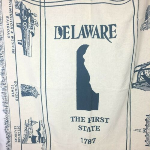 Delaware Woven Cotton Tapestry Throw Blanket with Historical Site Depictions