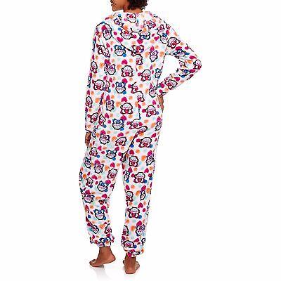 Neuer Frauen Einteiler Plüsch mit Kapuze Schlafanzüge Kostüm Union Anzug Eulen S ()
