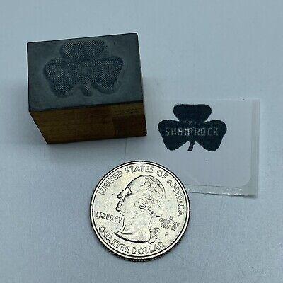 Vintage Shamrock Oil Logo Advertising Letterpress Block Print Stamp 1 X 58