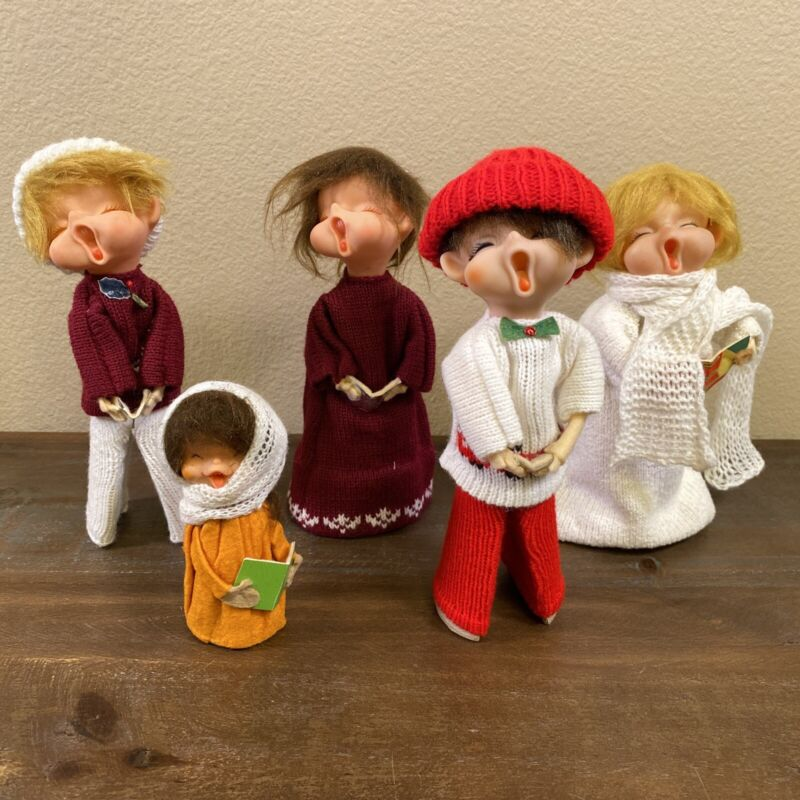 "Vintage Rubber Face Holiday Carolers Lot Of 5 Holiday Carolers 10"" Tall"
