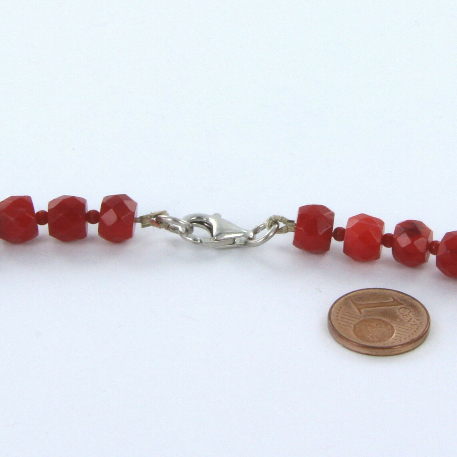 rote facettierte Korallen Kette - Bambuskoralle - Sterling Silber