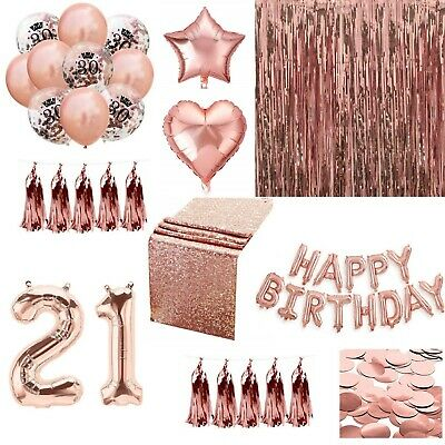 Rose Gold Happy Birthday Bunting Banner Balloons Tinsel Curtain DECORATIONS ()