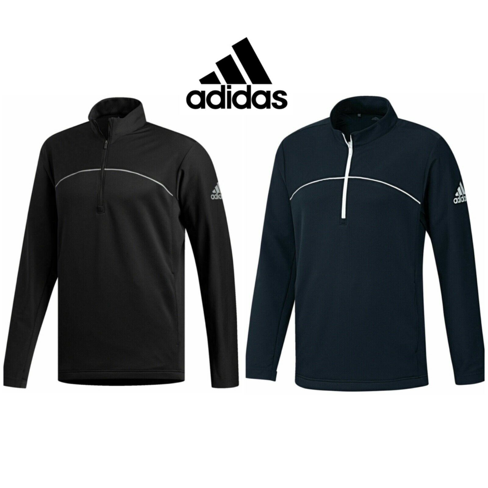 Details zu Adidas 2019 Go To 14 Reißverschluss Wasserfest Golf Pullover Sweatshirt