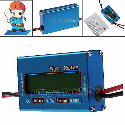 60V/100A Digital LCD Watt Meter Battery Balance DC RC Volt Ammeter Amp Analyzer