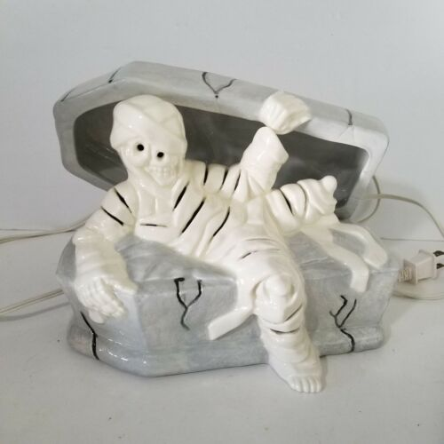 "Pottery Composition Halloween Light Up Mummy On Coffin Decoration 9"" Length"