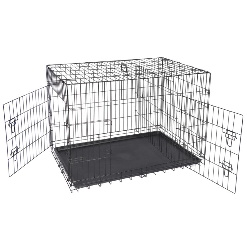 """42"""" Dog Crate Kennel Folding Metal Pet Cage 2 Door With Tray Pan Black"""
