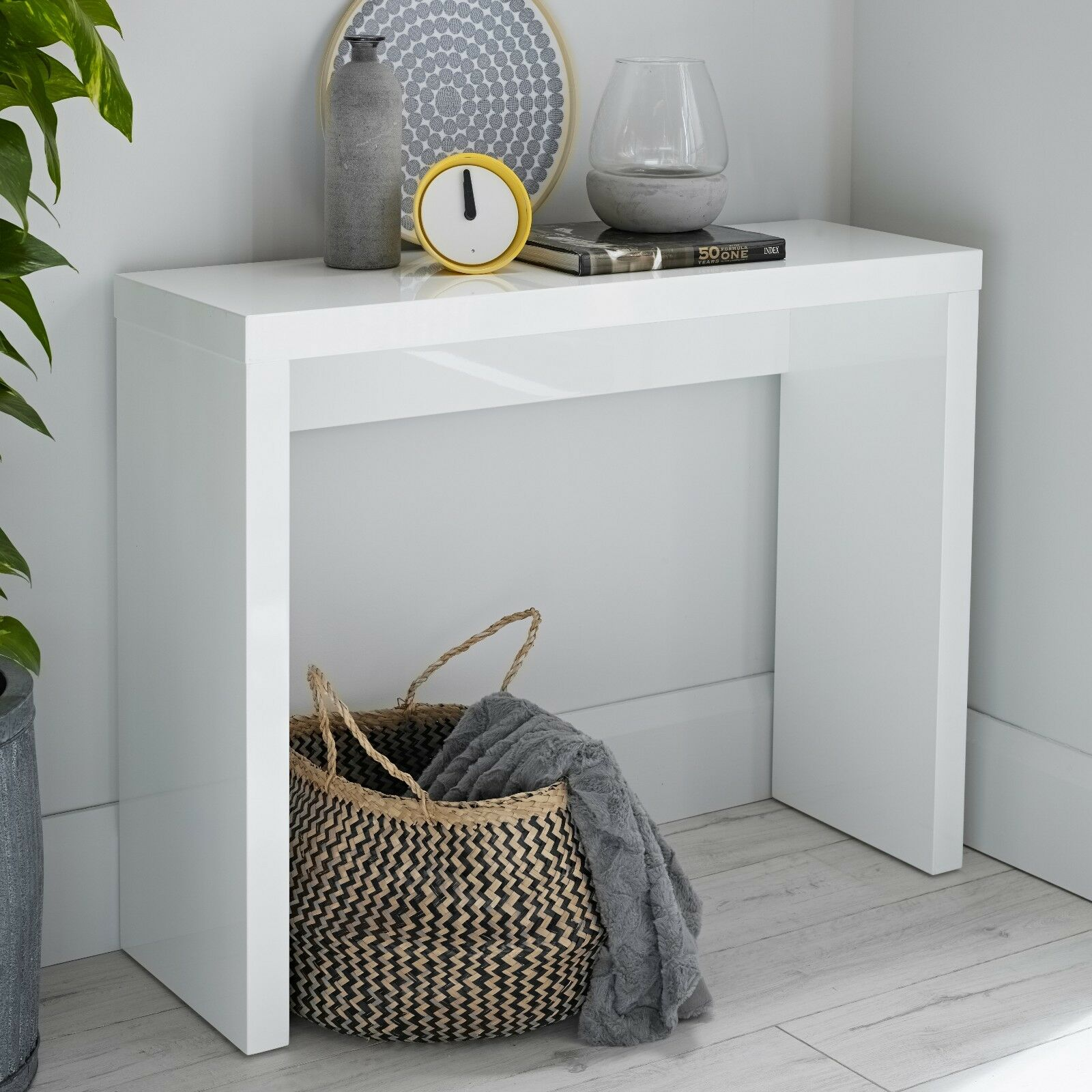 half off 4fc82 e64ec Details about Alana Modern White High Gloss Console Table / Laptop Desk /  Dressing Table