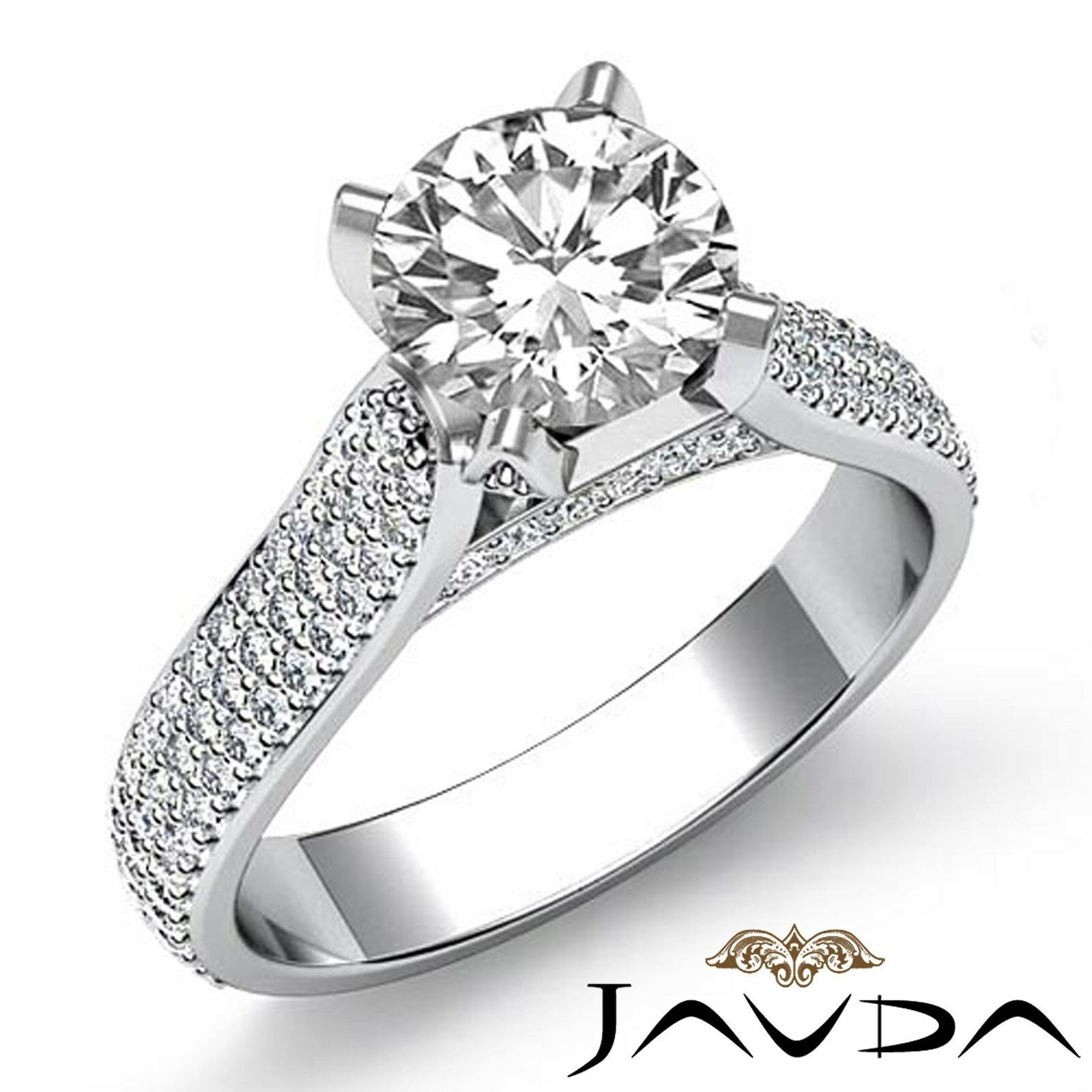 3 Row Pave Shank Round Diamond Engagement Ring Certified GIA I Color VS2 2.95 Ct
