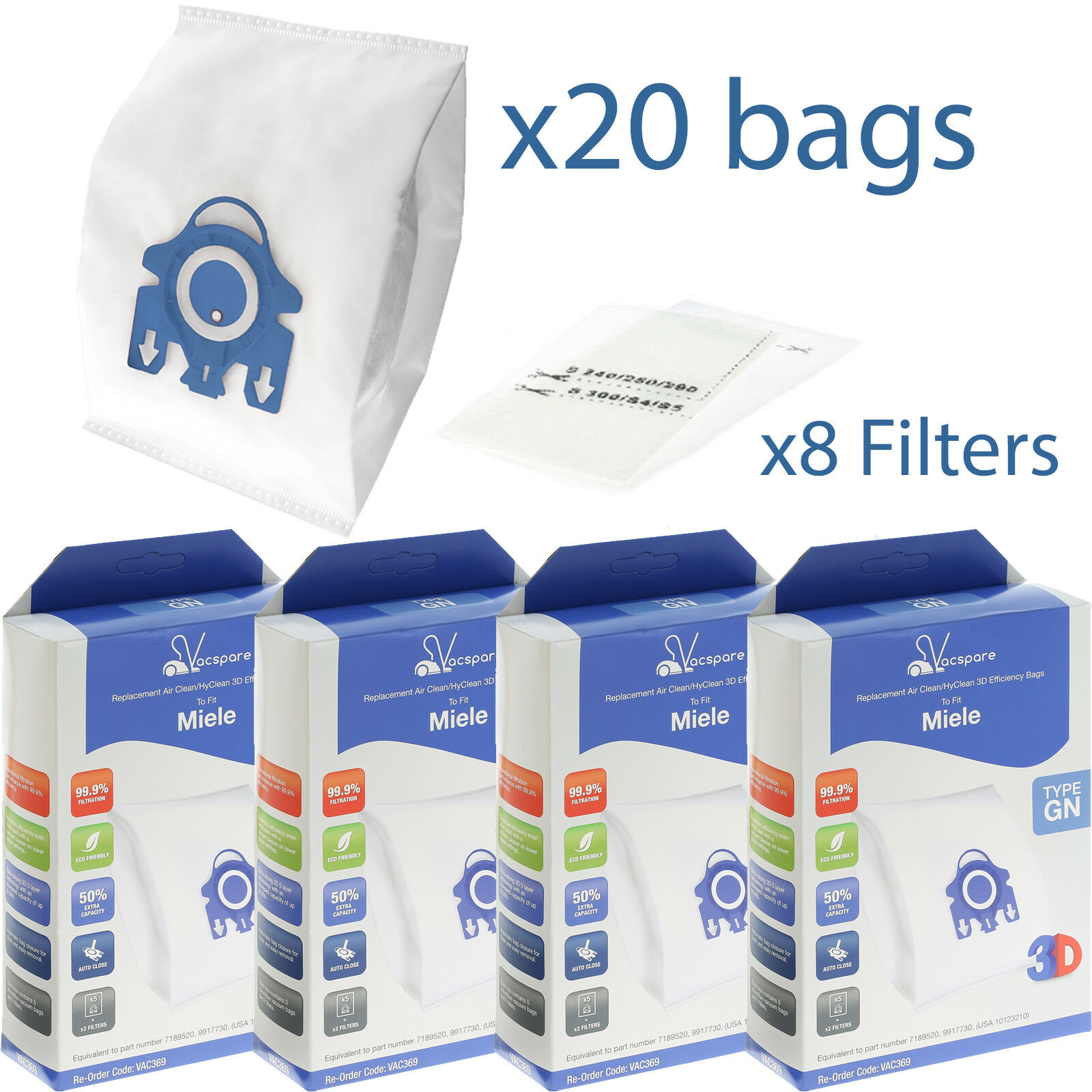Filters for Miele Complete C2 C3 Powerline Silence Ecoline 10 x GN Hoover Bags