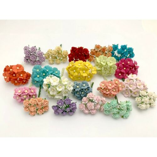 200 MIXED 4 Designs Mini - Small Cottage Rose Paper Flower Pastel (R&S- Kit AA3)