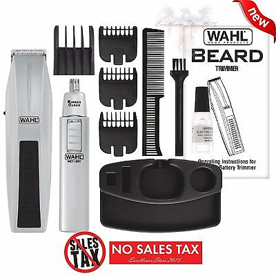 Wahl Mustache And Beard Trimmer Set Shaver Clipper Groomer Hair Cut Kit Ear Nose
