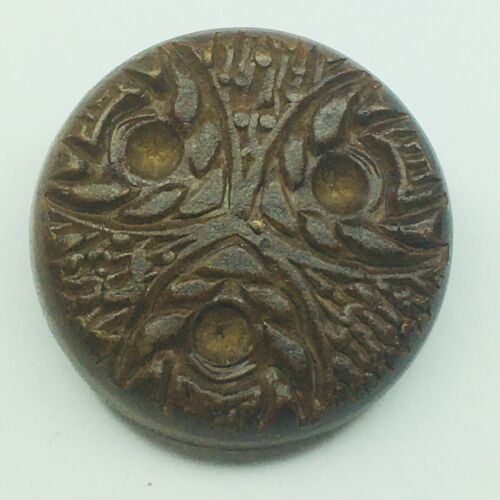 """Vintage Wooden Button Pressed Carved Design 1 1/4"""" Crafts or Collectible"""