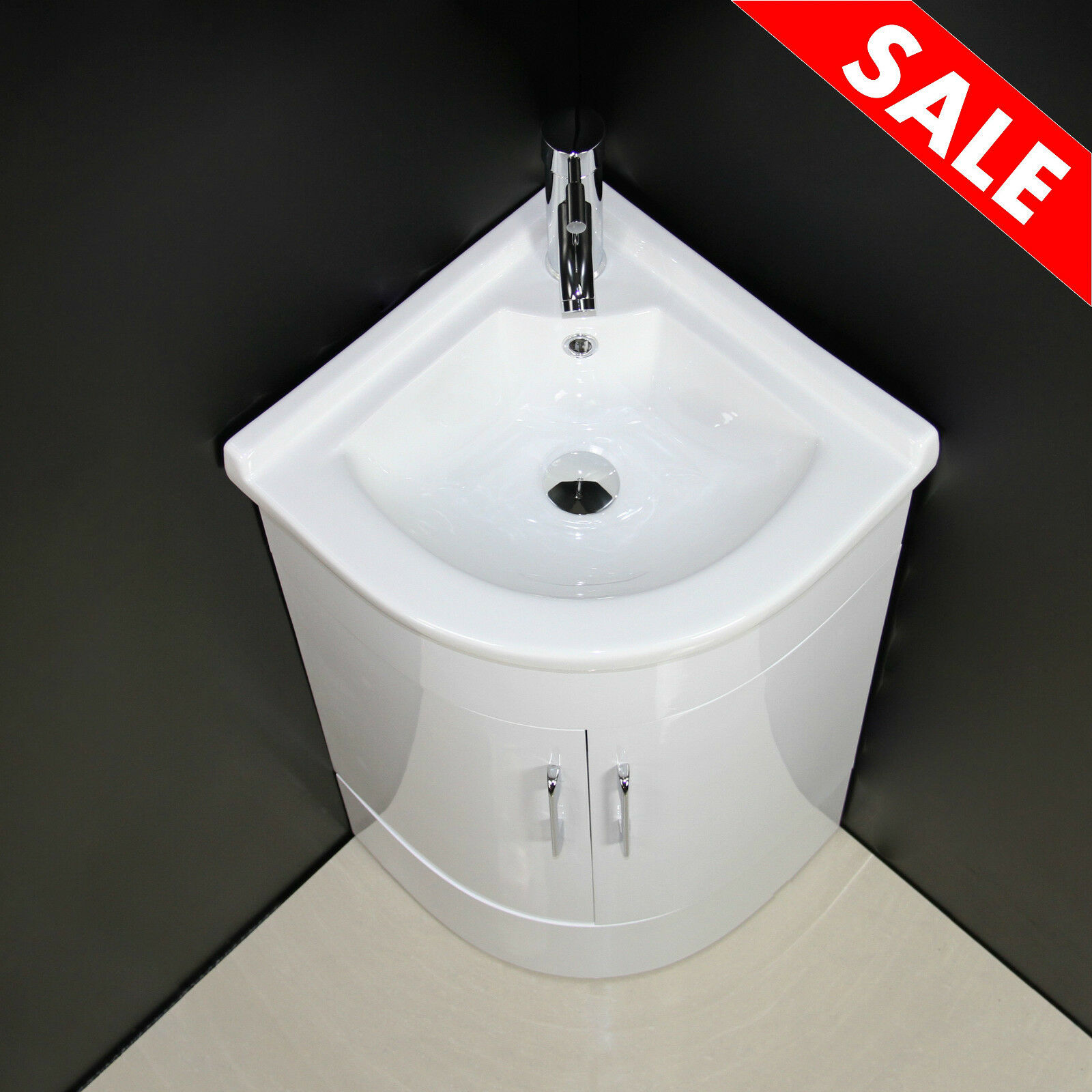 Vanity unit cabinet bathroom basin sink corner cloakroom for Floor standing corner bathroom cabinet