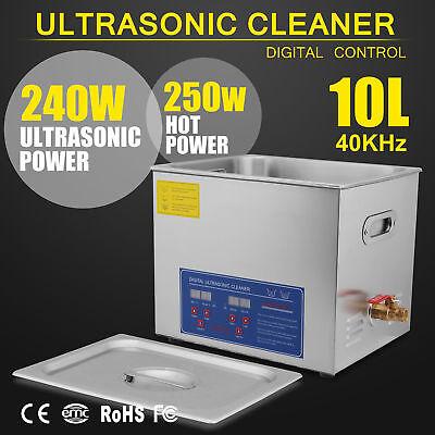 10l Gb 250w Digital Heated Industrial Ultrasonic Parts Cleaner Us Ship
