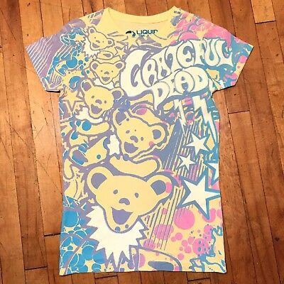 GRATEFUL DEAD BUBBLE GUM BEARS YELLOW JUNIORS SHIRT LIQUID BLUE 2010