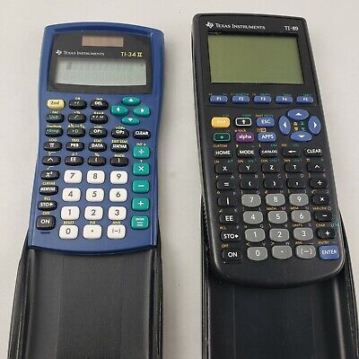 2 Texas Instruments Calculators TI-34 II , TI-89 Graphing TI Calculator LOT
