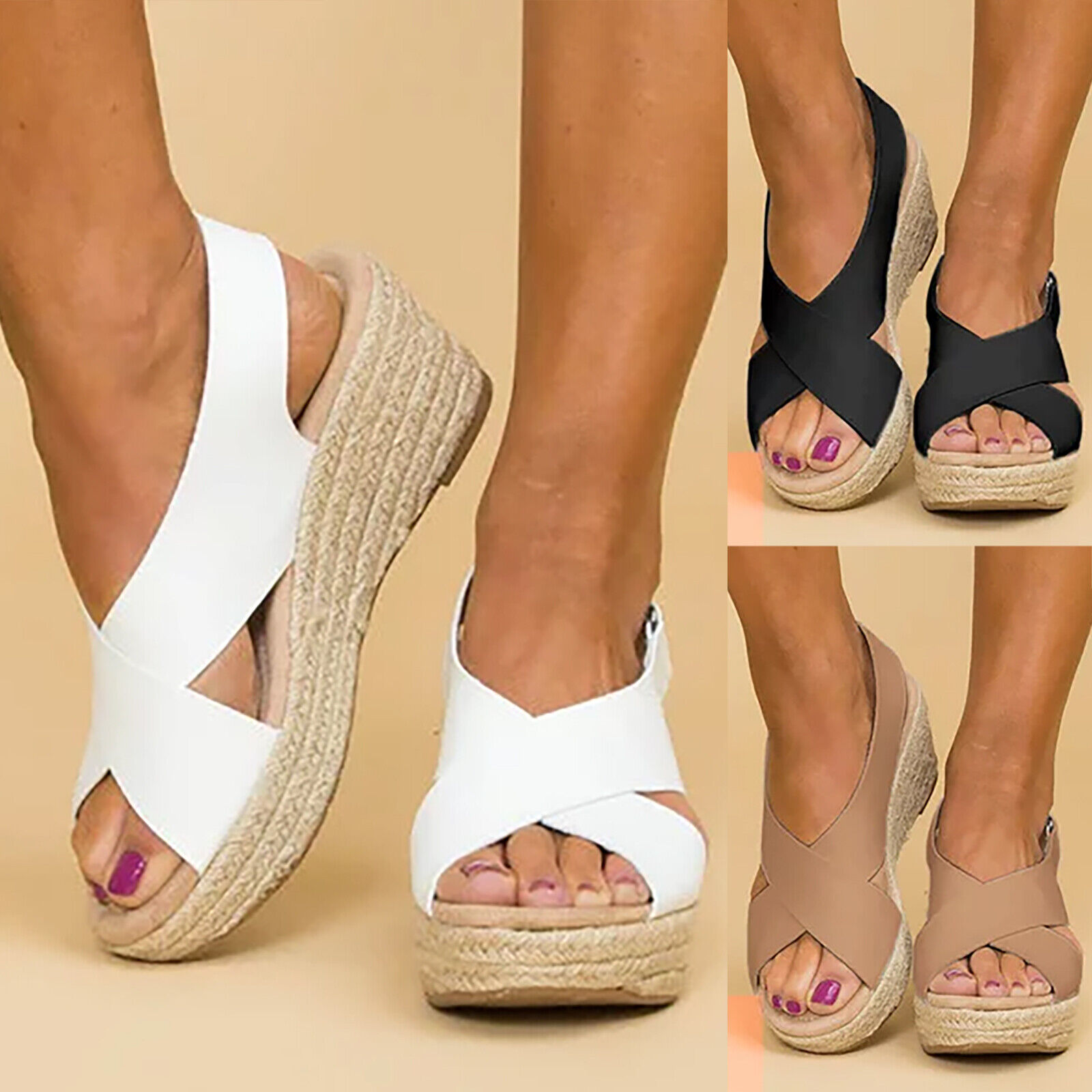 Women Wedge Platform Sandals Espadrille Ankle Strap Peep Toe Shoes Walking Party