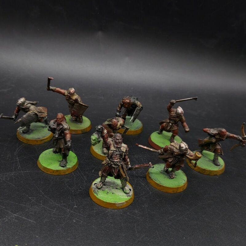 painted warhammer LoTr uruk hai scouts ×9 & metal Ugluk captain games workshop