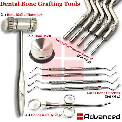 Dental Sinus Lift Implant Surgery Kit Offset Osteotome Bone Graft Syringe Mallet