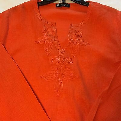 Valerie Bertinelli Orange Linen Rayon Long Sleeve Blouse Top Xl See Measurements