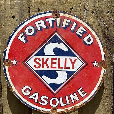 """Vintage Skelly Porcelain Gasoline Fuel Service Garage Red Gas Oil 12"""" round Sign"""