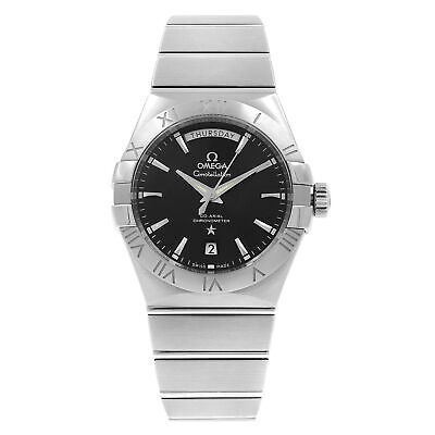 Omega Constellation Steel Black Dial Day Date Mens Watch 12310382201001