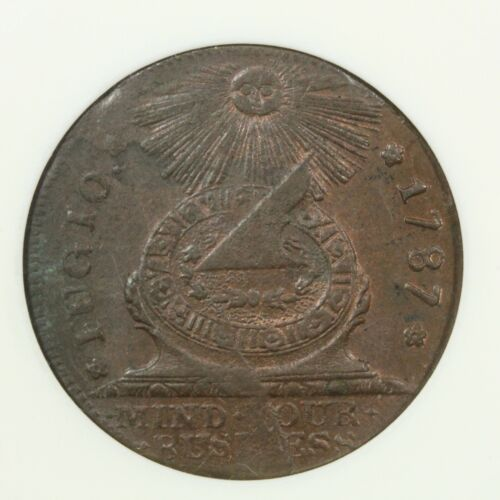 1787 Colonial Early Copper Fugio Cent Old White ANACS Holder MS 63 RB