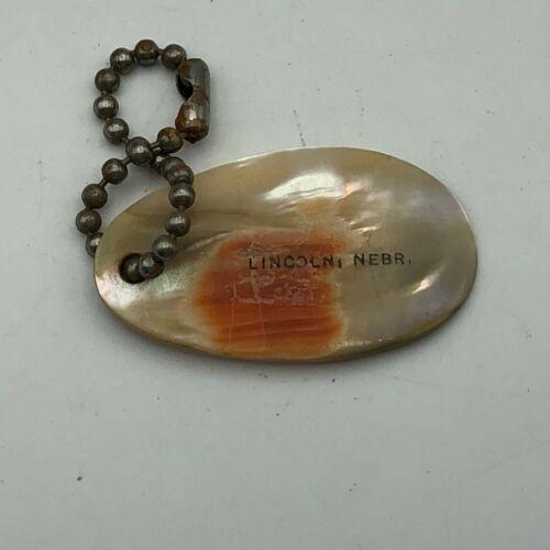 Vintage Abalone Shell FOB Keychain Lincoln Nebraska Souvenir Antique  Q1